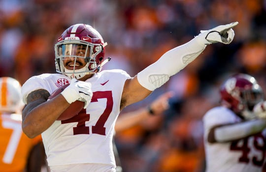 Alabama linebacker Christian Miller (47) celebrates recovering a Tennessee] fumble. in first half action at Neyland Stadium in Knoxville, Tn., on Saturday October 20, 2018.