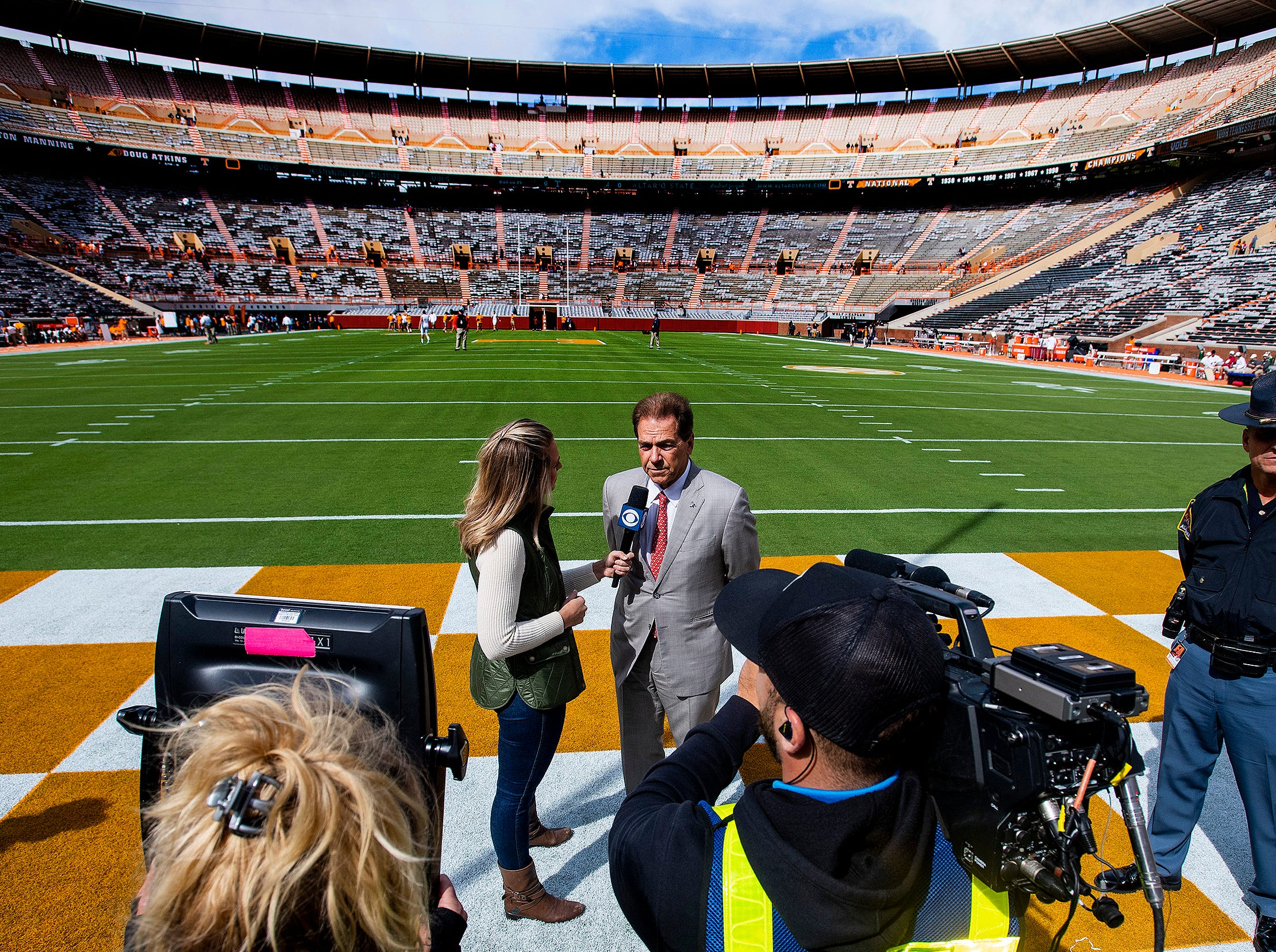 Alabama head coach Nick Saban is interviewed asa thew team arrives for the Tennessee game at Neyland Stadium in Knoxville, Tn., on Saturday October 20, 2018.