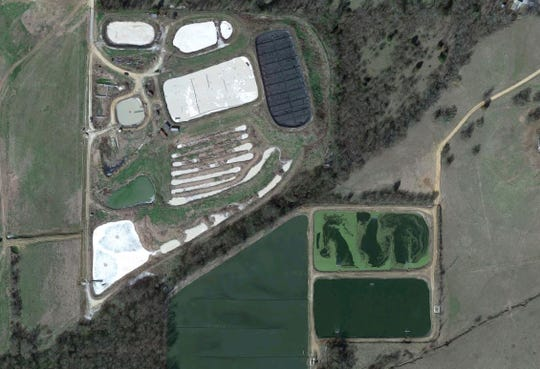 Satellite image of the Uniontown wastewater treatment facility.