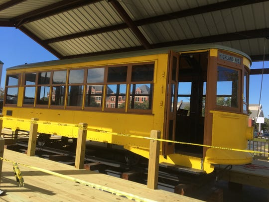 The trolley is now a part of the downtown Montgomery landscape as workers build a structure around the old car