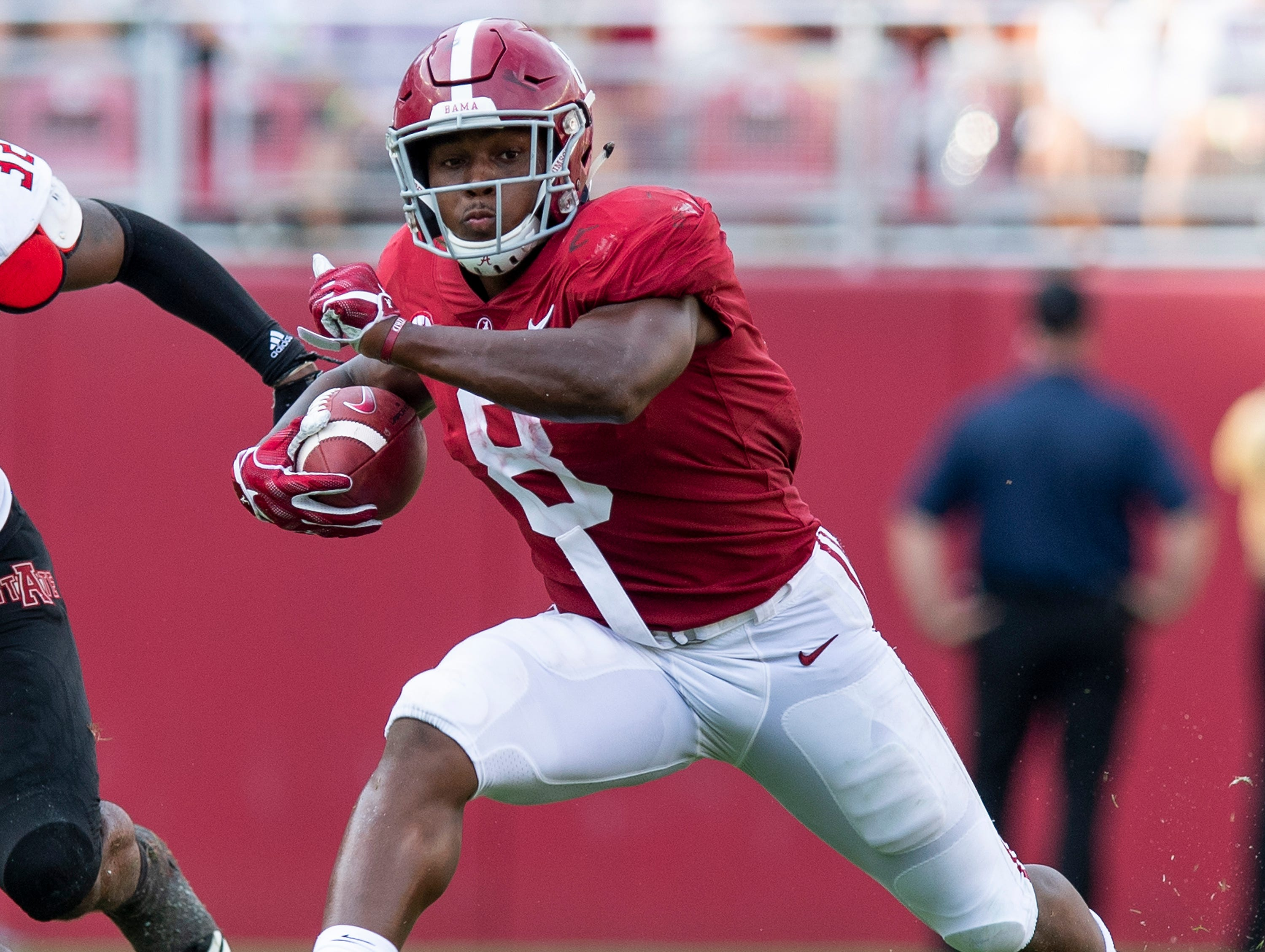 Alabama running back Josh Jacobs (8) runs against Arkansas State in second half action at Bryant Denny Stadium in Tuscaloosa, Ala., on Saturday September 8, 2018.