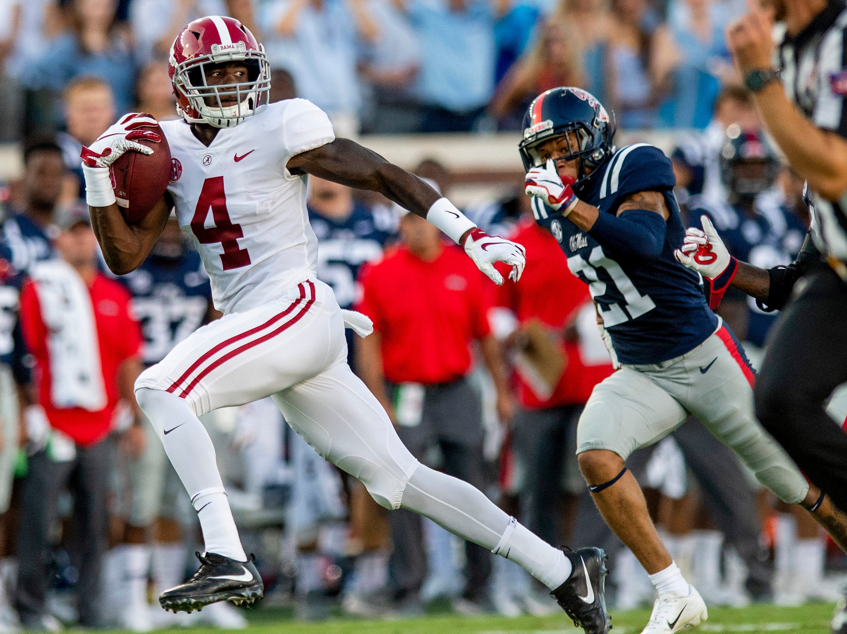 Alabama wide receiver Jerry Jeudy (4) breaks free for a touchdown against Ole Miss In first half action in Oxford, Ms., on Saturday September 15, 2018.