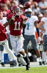 Alabama wide receiver Henry Ruggs, III, (11) catches a pass against The Citadel in second half action at Bryant-Denny Stadium in Tuscaloosa, Ala., on Saturday November 17, 2018.