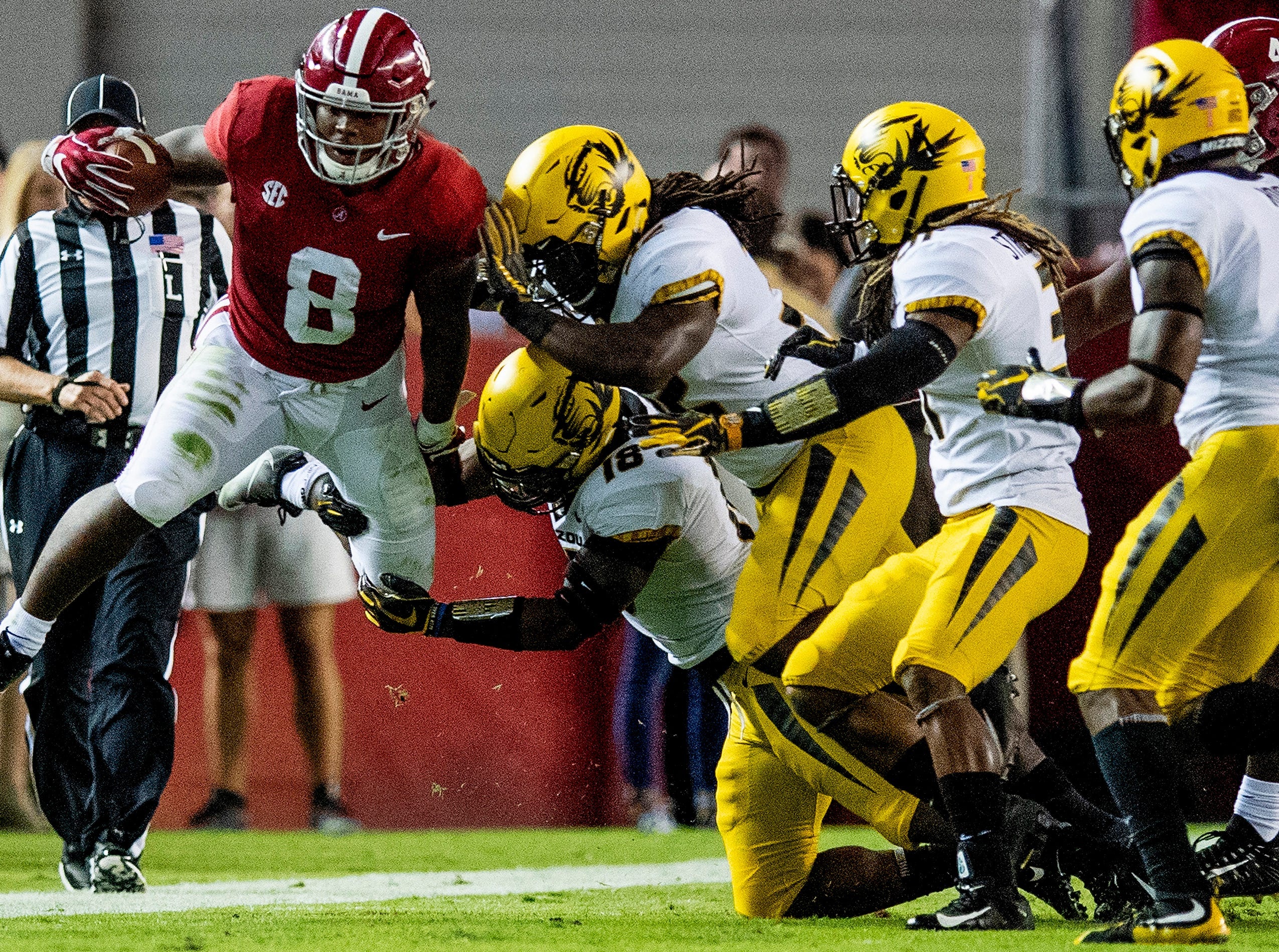 Alabama running back Josh Jacobs (8) is forced out of bounds on a kick return against Missouri in first half action at Bryant Denny Stadium in Tuscaloosa, Ala., on Saturday October 13, 2018.