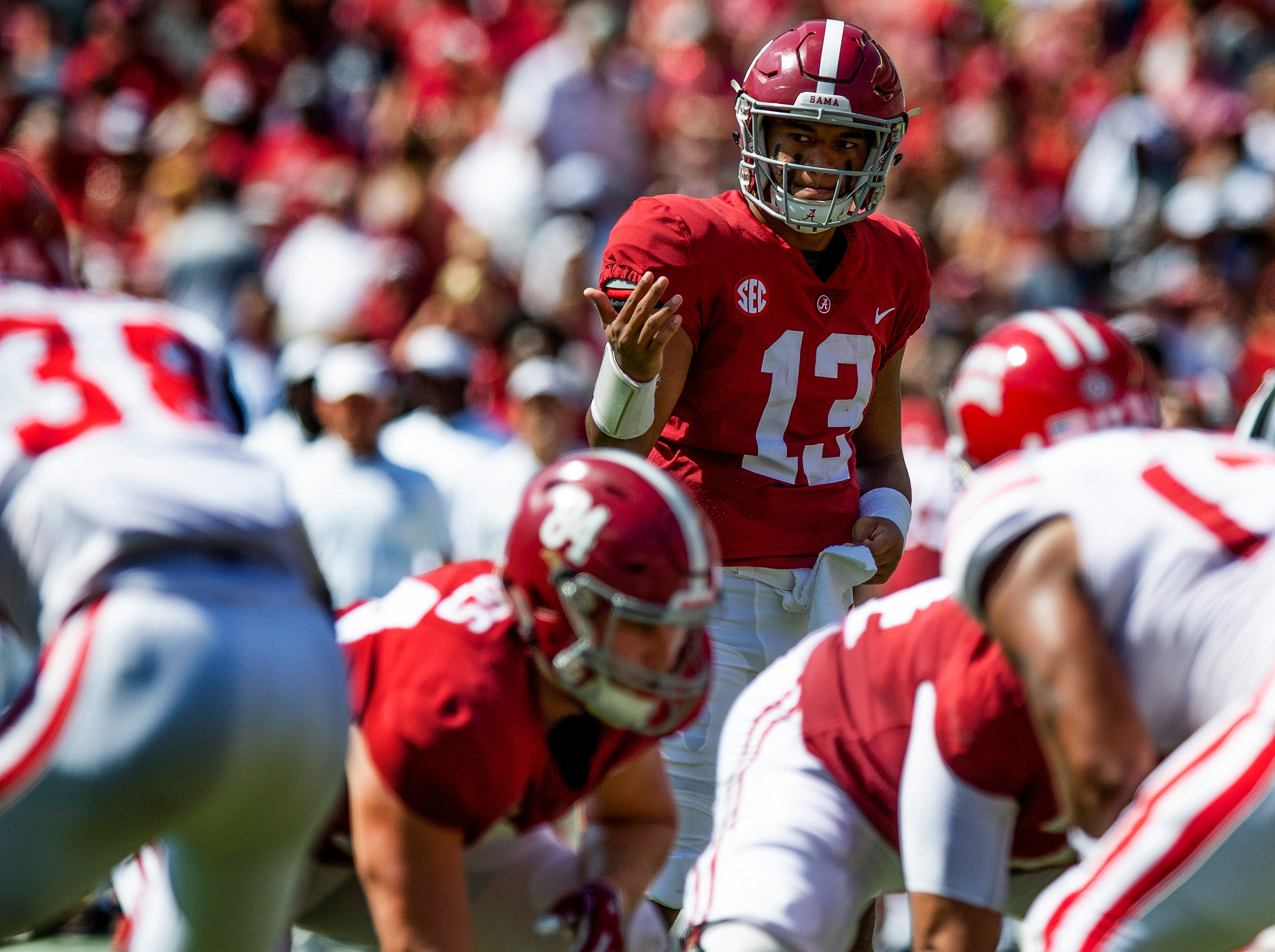 Alabama quarterback Tua Tagovailoa (13) directs from under center against Louisiana in first half action at Bryant-Denny Stadium in Tuscaloosa, Ala., on Saturday September 29, 2018.