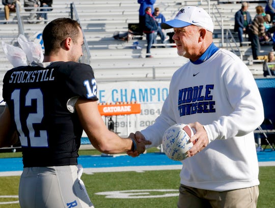 Brent Stockstill, left, was a quarterback for father Rick Stockstill at MTSU last season. He's now a coach on the FAU staff.