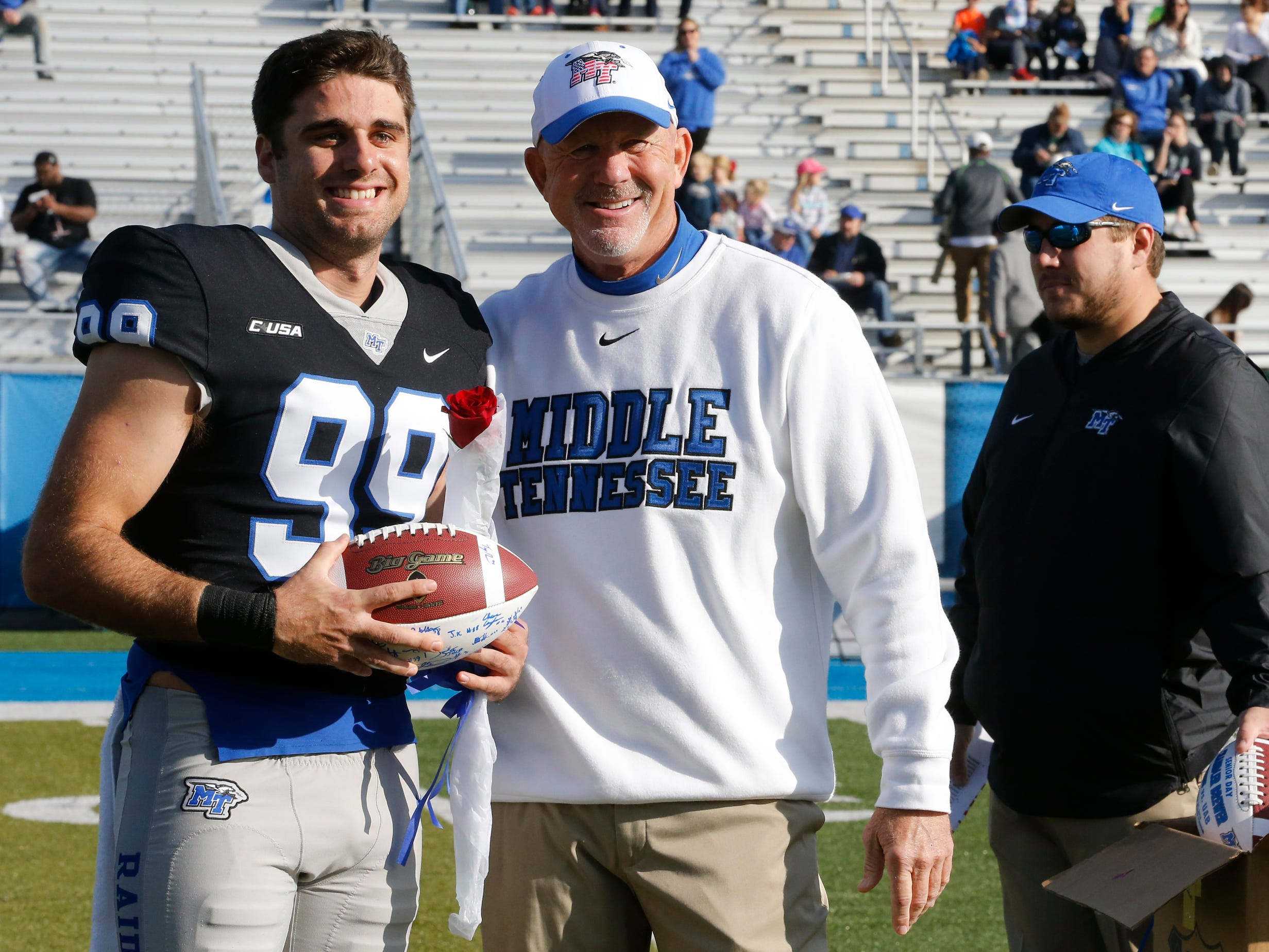 MTSU honored the seniors on Senior Day, before the start of the game against UAB at MTSU, on Saturday, Sept. 29, 2018.