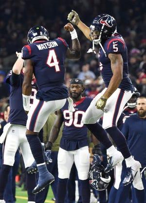 Texans quarterback Deshaun Watson (4) celebrates his touchdown in the second quarter at NRG Stadium Monday, Nov. 26, 2018, in Houston, Texas.
