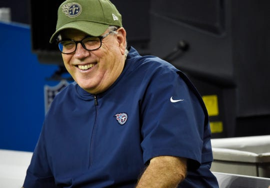 Titans defensive coordinator Dean Pees laughs during warmups before the game at NRG Stadium Monday, Nov. 26, 2018, in Houston, Texas.