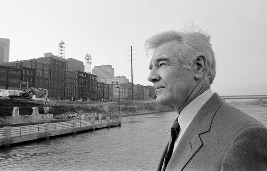 Metro Mayor Richard Fulton checks out the progress of the work on another phase of the Riverfront Park in downtown Nashville on Dec. 10, 1984.