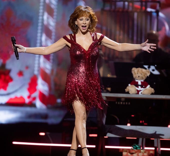 Host Reba McEntire takes the stage during the filming of the 2018 CMA Country Christmas Thursday September 27, 2018 at Belmont's Curb Event Center.