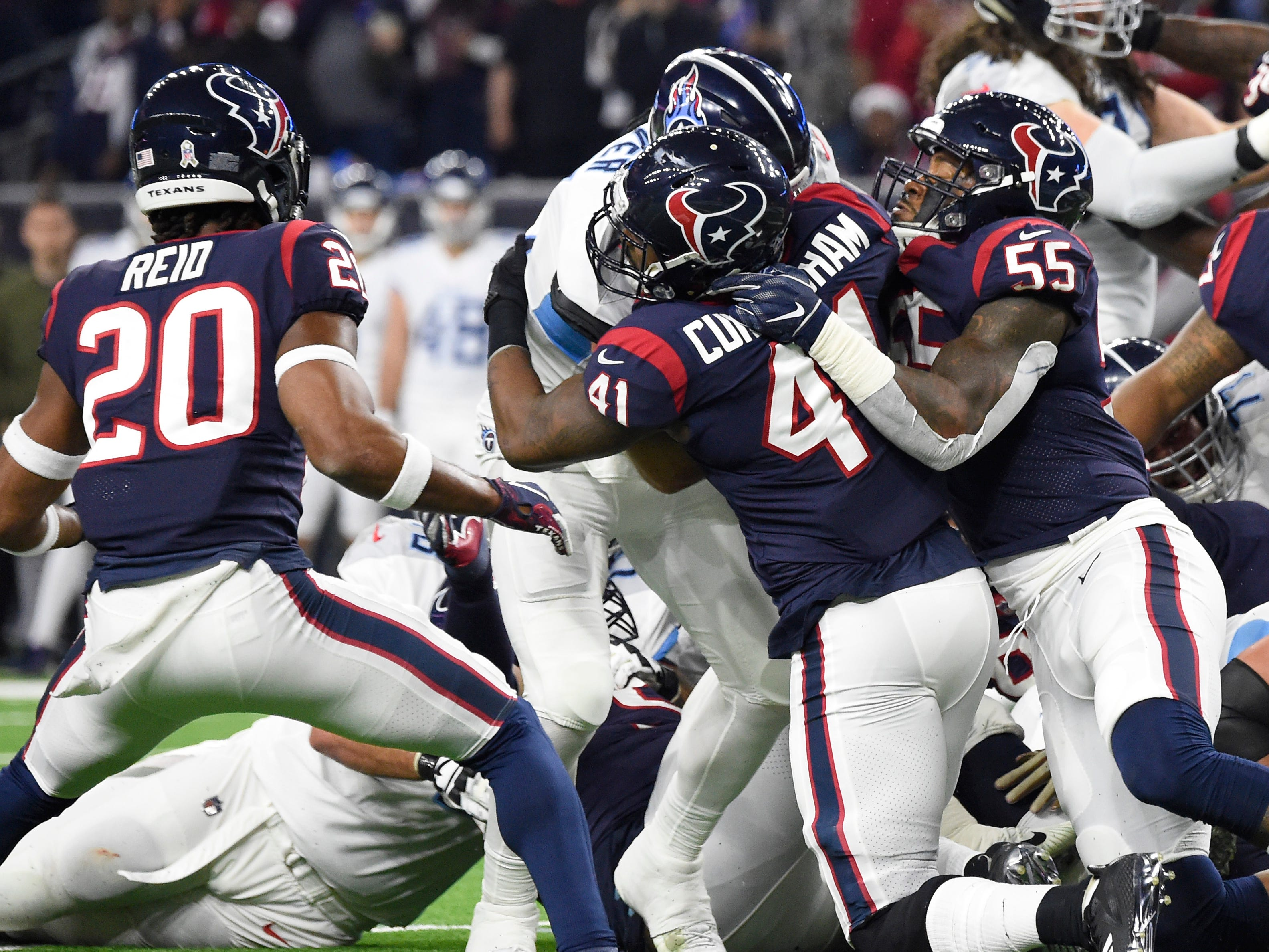 Titans tight end Luke Stocker (88) is stopped on a fourth-and-1 play near the goal line in the second quarter at NRG Stadium Monday, Nov. 26, 2018, in Houston, Texas.