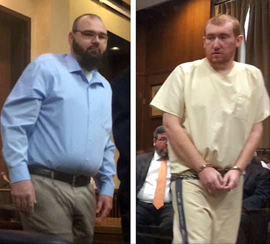 Pictured, from left, Steven Wiggins and Joseph Daniels, during their court appearances Tuesday in Dickson County  Circuit Court.