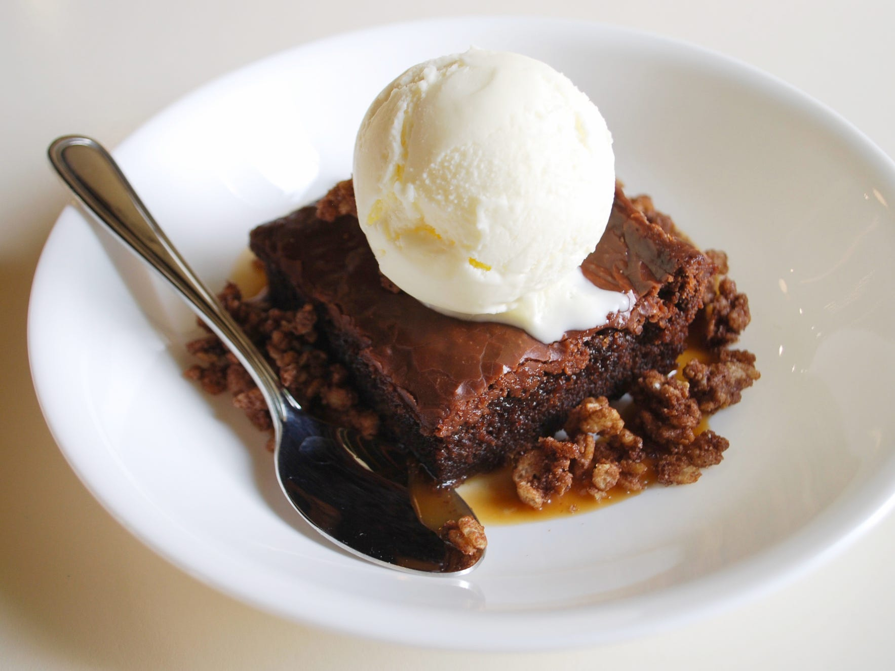Chocolate Slab Cake with caramel, cocoa crispies and vanilla ice cream at Mop/Broom Mess Hall.