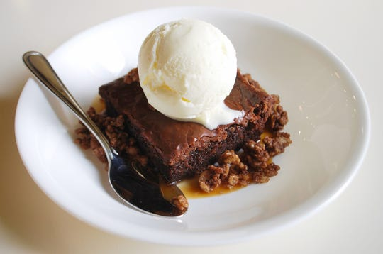 Chocolate Slab Cake with caramel, cocoa crispies andvanilla ice cream at Mop/Broom Mess Hall.