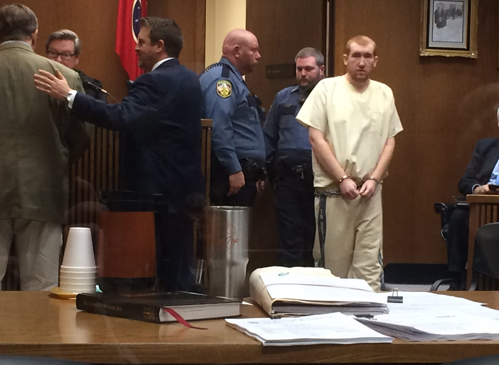 Joseph Daniels enters the Dickson County Circuit Courtroom on Tuesday during a hearing.