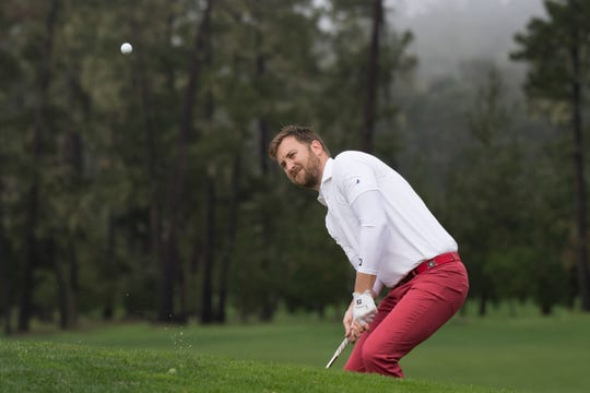 Country music band Lady Antebellum singer Charles Kelley hits his bunker shot on the ninth hole during the second round of the AT&T Pebble Beach Pro-Am golf tournament at Spyglass Hill Golf Course in 2017. Kelley will be playing in the QBE Shootout Pro-Am in Naples on Wednesday, Dec. 5 and Thursday, Dec. 6, 2018.