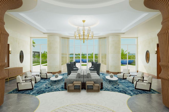 Omega's lobby will offer a view of the building's grand salon that will feature see-through views of an outdoor amenity deck.