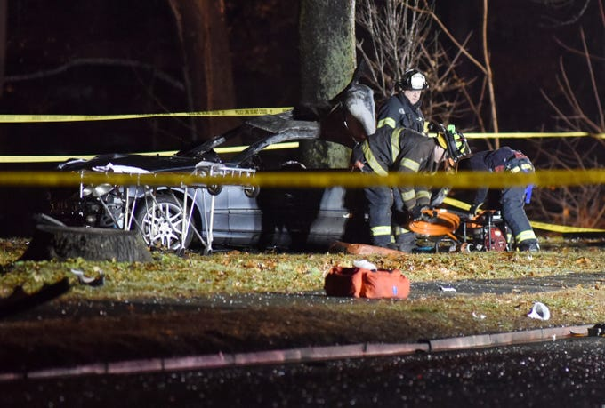 Police at the scene where there was a serious car accident on Bloomfield Avenue at High Street in Glen Ridge, NJ around 10:30 p.m. on Nov. 26, 2018.