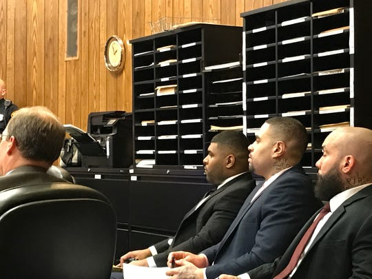 The three defendants, l to r, David Lawrence, Luis Polanco and Angel Toro in Superior Court on Tuesday.
