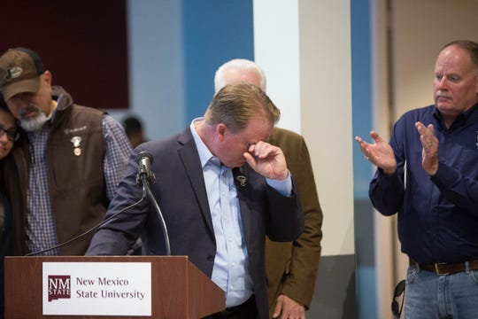 Shelton Dodson, a close friend of J.R. Stewart, wipes tears from his eyes after announcing the JR Stewart 141 Foundation's scholarship, during a Giving Tuesday event at New Mexico State University on Tuesday, Nov. 27, 2018. Stewart, a retired  Las Cruces police officer, was killed a year ago after being hit by a vehicle occupied by two people fleeing police.