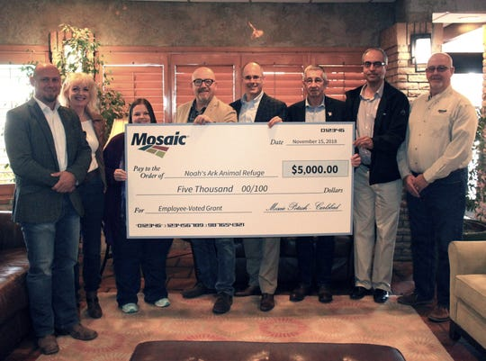 Mosaic donated $5,000 to Noah's Ark Animal Refuge.