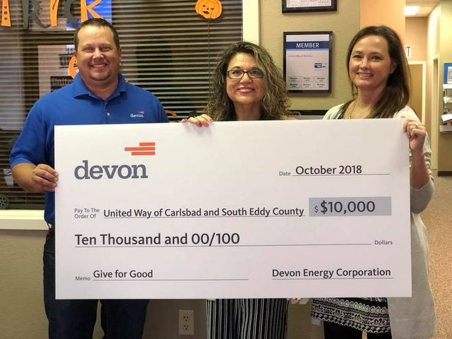 Devon presented $10,000 to United Way of Carlsbad and south Eddy County.