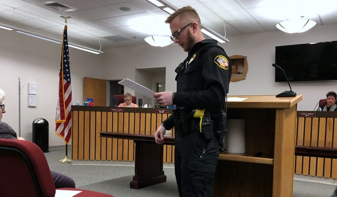 Bloomfield police Officer Logan McKinney addresses the audience Monday during a Bloomfield City Council meeting. McKinney says interim chief Randon Matthews should be appointed to the vacant police chief position.