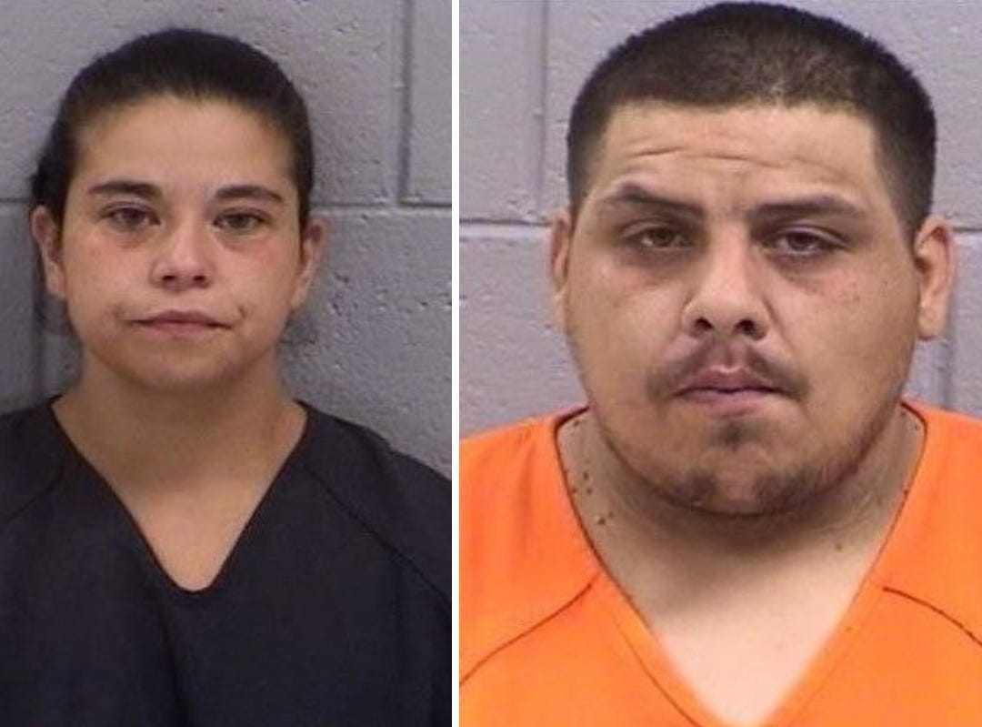 Amanda Barela, 33, left, and Patrick Atencio, 20, right, were arrested for using an online dating app to set up an armed robbery.