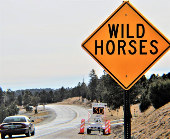 One of the radar speed readers is near the sign warning of wild horses on NM48 in Alto north of Ruidoso.