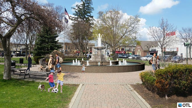 "This rendering is what the new Kellogg Park fountain will look like, ""with possible a few tweaks,"" said Plymouth Mayor Oliver Wolcott."