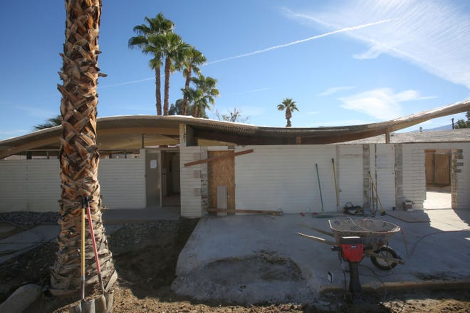 The roof line of the historic Wave House in Palm Desert is revealed during renovation on Tuesday, November 27, 2018.