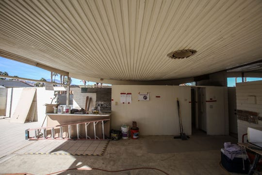 The curve of the roof as seen from the inside of the Wave House during renovation on Tuesday, November 27, 2018 in Palm Desert.