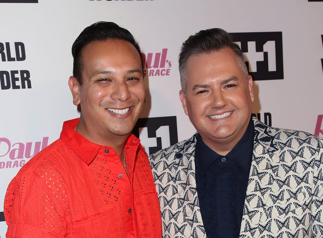 """LOS ANGELES, CA - JUNE 08:  TV personality Ross Mathews (R) and Salvador Camarena attend VH1's """"RuPaul's Drag Race"""" Season 10 Finale at The Theatre at Ace Hotel on June 8, 2018 in Los Angeles, California.  (Photo by David Livingston/Getty Images)"""