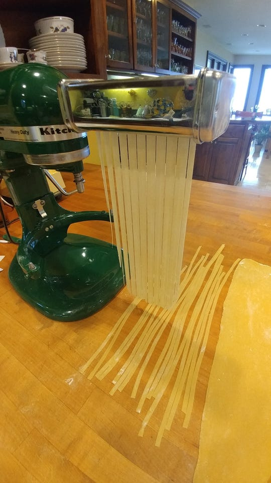 Cut the noodles and lay them flat.