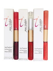 Jane Iredale Lip Fixation, $32 each (colors shown: Fetish, Passion, Devotion), Stay the Spa.