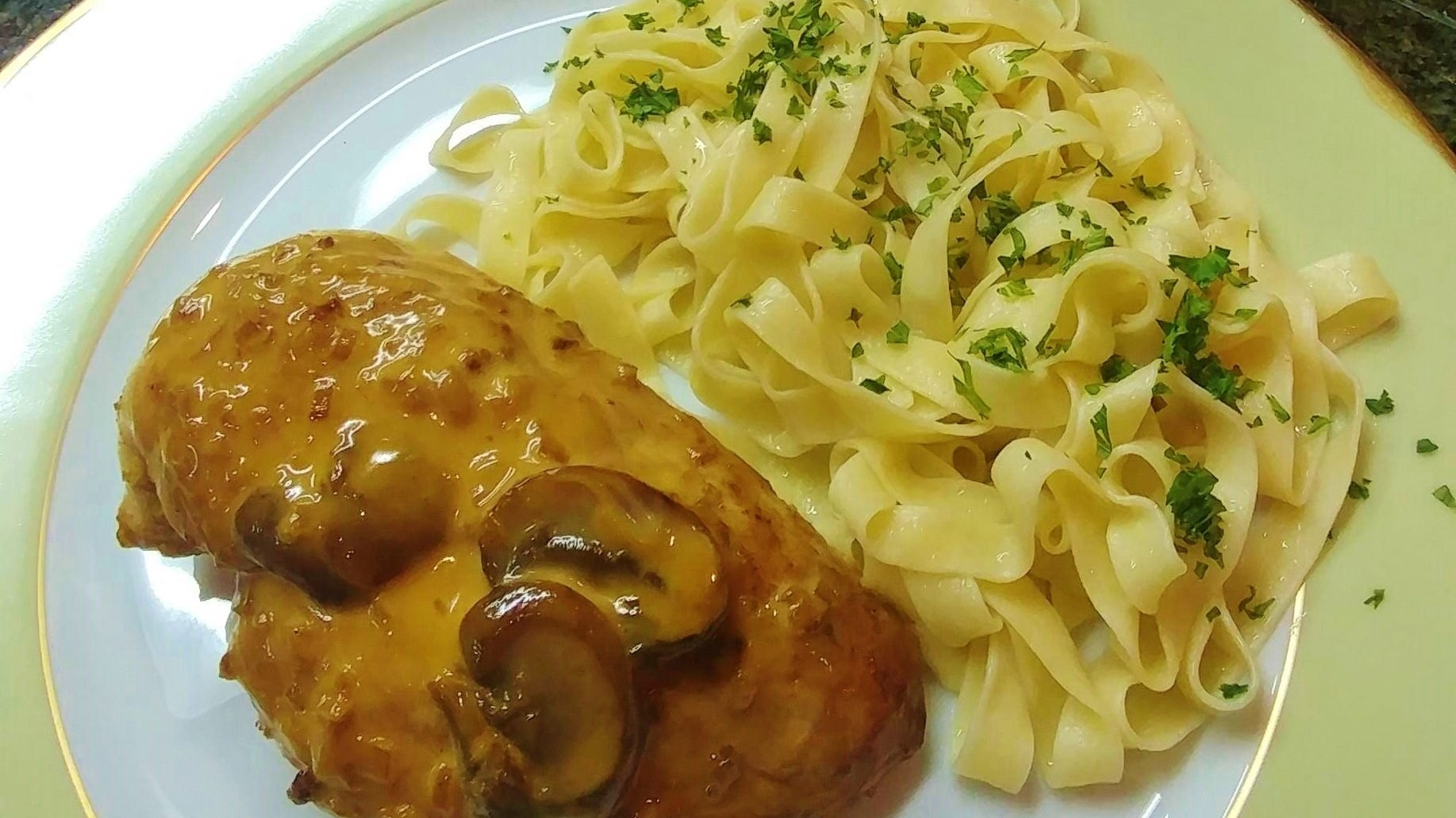 Chicken In Reisling wine with Alsatian noodles.