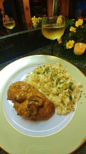 Chicken In Reisling wine with Alsatian noodles.