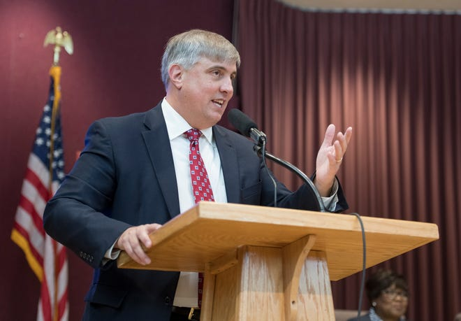 Pensacola Mayor Grover Robinson speaks Nov. 27 after being sworn in during the installation ceremony at City Hall.