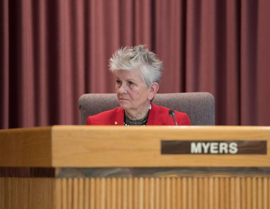 Pensacola City Councilwoman Sherri Myers listens during the City Council and mayor installation ceremony at City Hall in Pensacola on Nov. 27.
