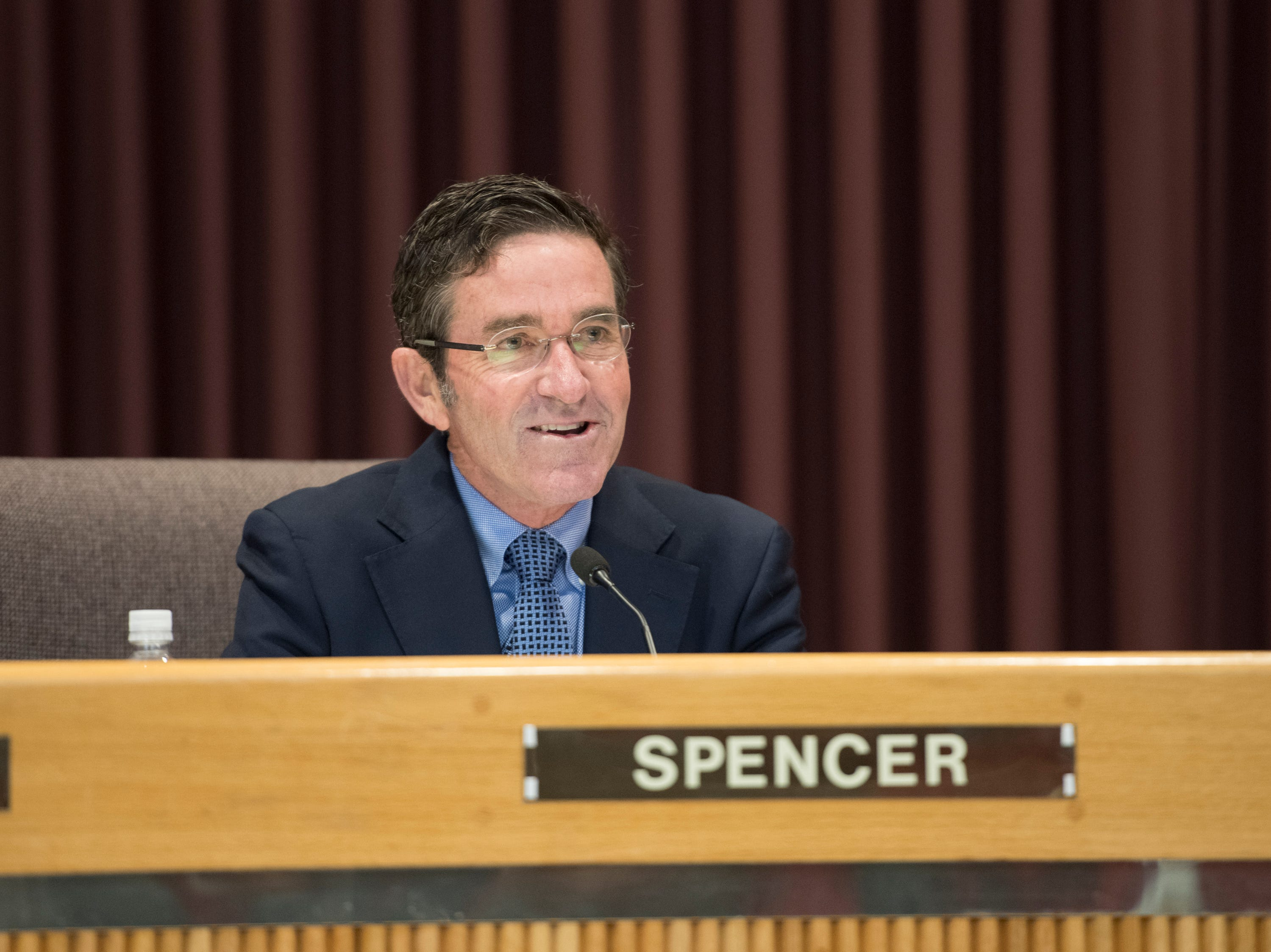 Outgoing council member Brian Spencer speaks prior to the Pensacola City Council and Mayor installation ceremony at City Hall in Pensacola on Tuesday, November 27, 2018.