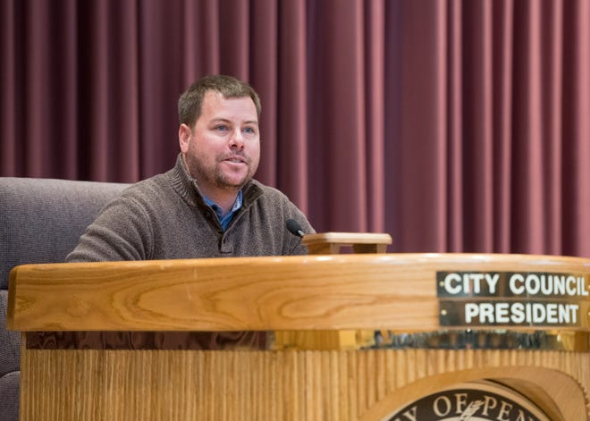 Andy Terhaar assumes the role of Pensacola City Council president role during an installation ceremony Nov. 27.