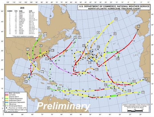 This image from the National Weather Service shows the paths for the 15 named storms of the 2018 hurricane season. Three of the storms impacted Northwest Florida, the most catastrophic being Hurricane Michael, which made landfall as a near-Category 5 hurricane on Oct. 10, 2018.
