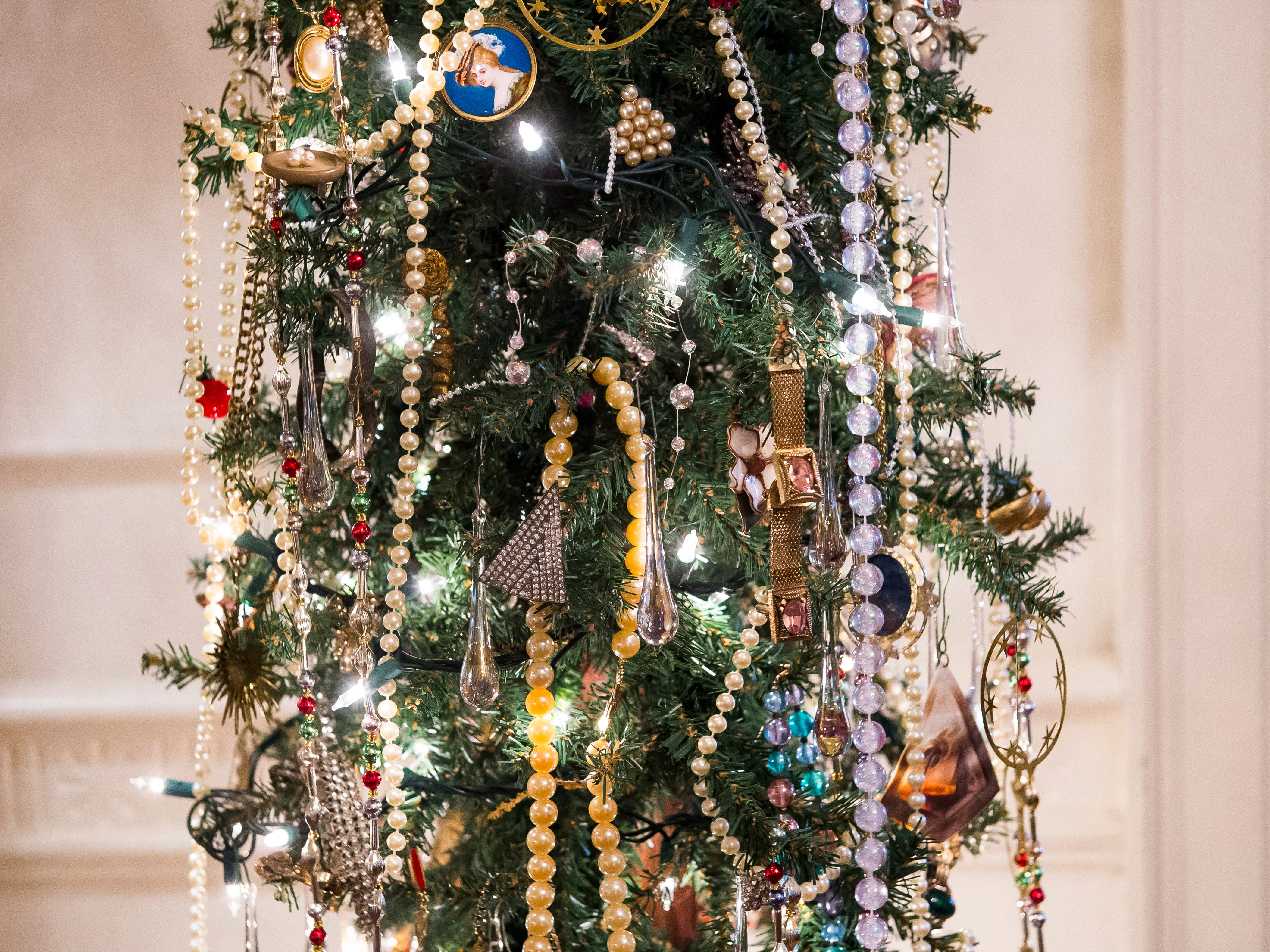 A tree decorated with jewelry is one of over 40 Christmas trees on display at the Warehime-Myers Mansion in Hanover. Tree tours are currently being offered and a schedule can be found on the Hanover Area Historical Society's Facebook page.