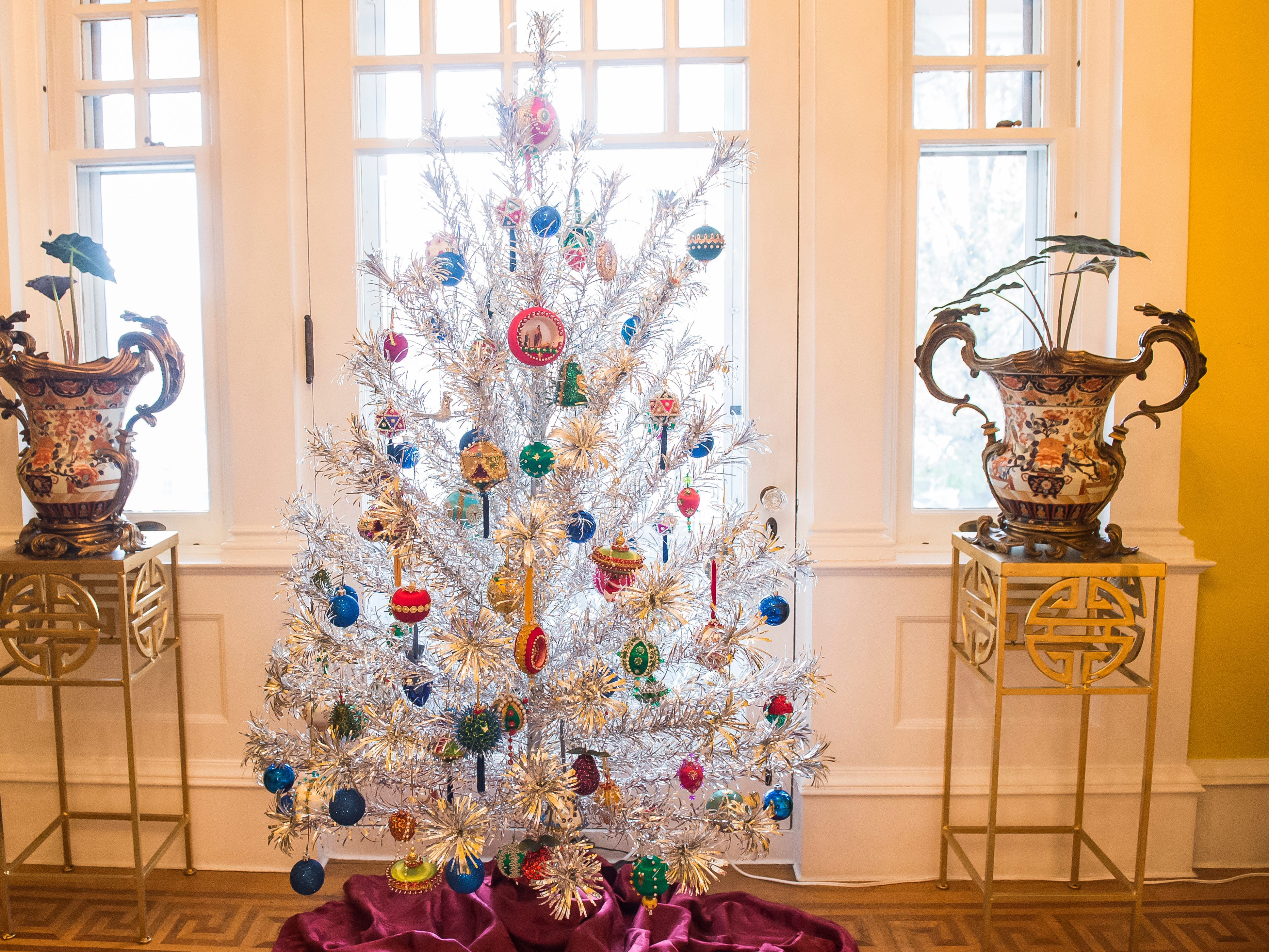An aluminum tree is displayed in the sewing room of the Warehime-Myers Mansion in Hanover.