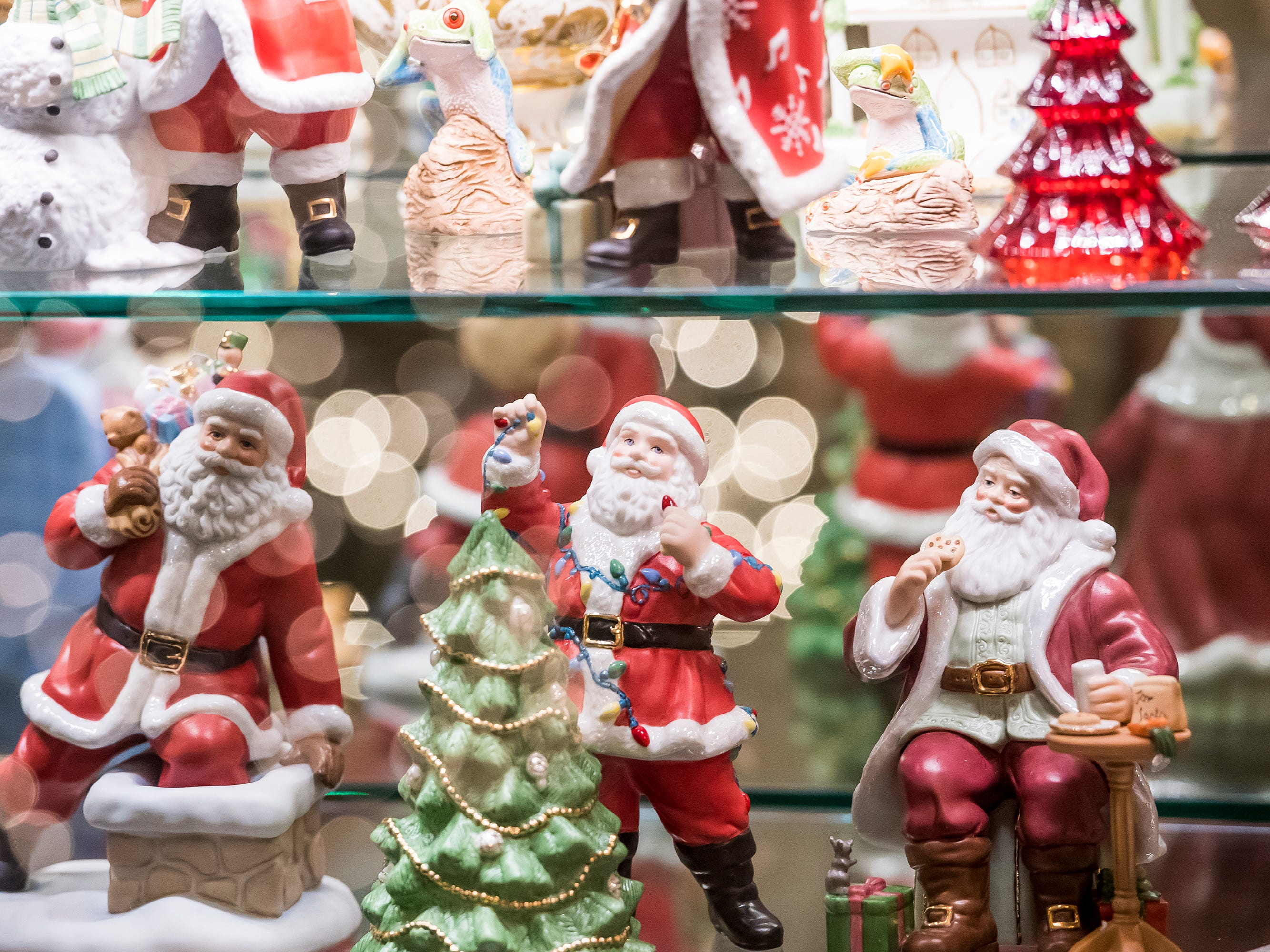 Santa figurines are on display at the Warehime-Myers Mansion in Hanover. Tree tours are currently being offered and a schedule can be found on the Hanover Area Historical Society's Facebook page.