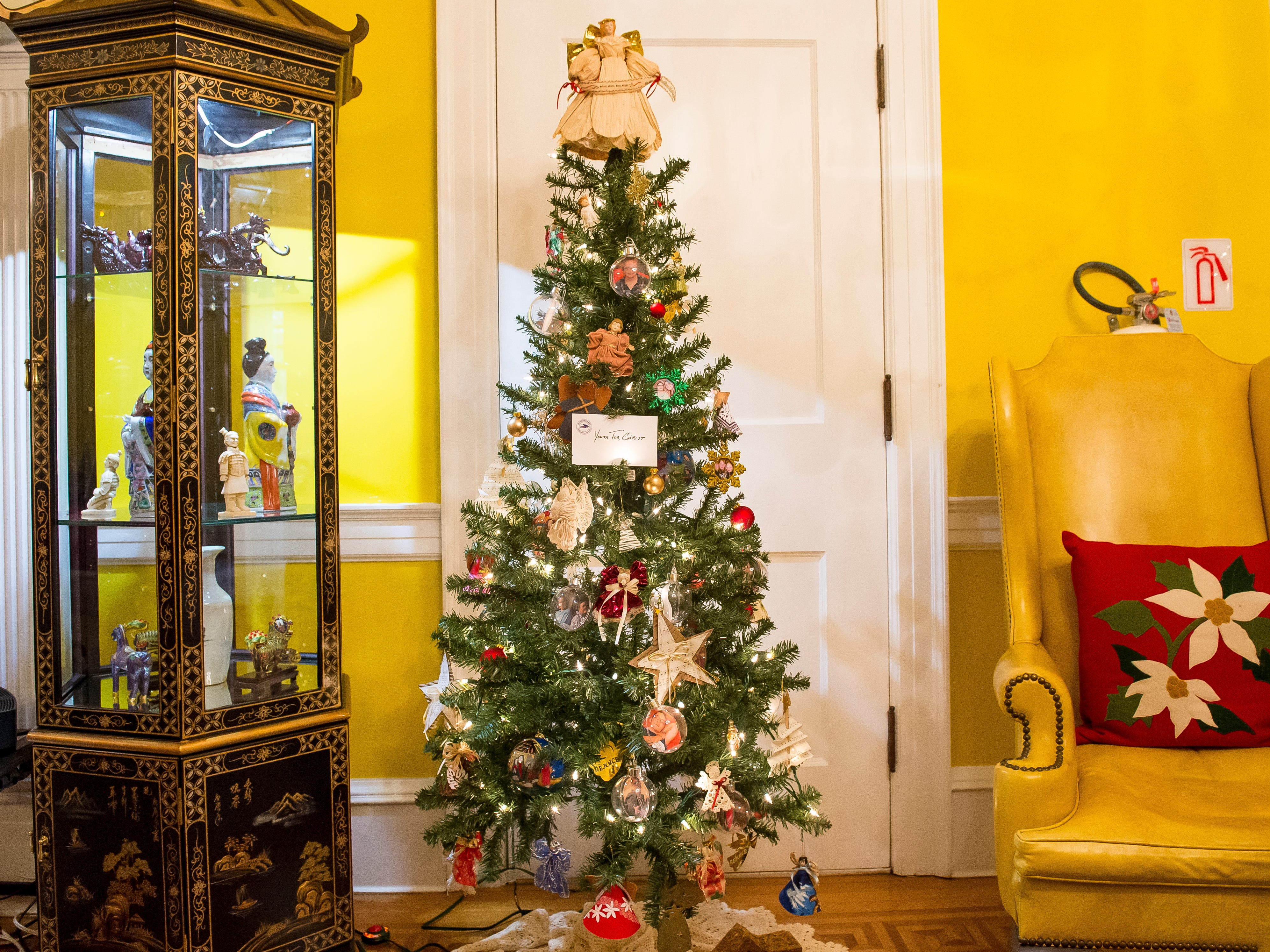 Hanover Youth for Christ decorated this Christmas tree that is displayed in the Warehime-Myers Mansion in Hanover.