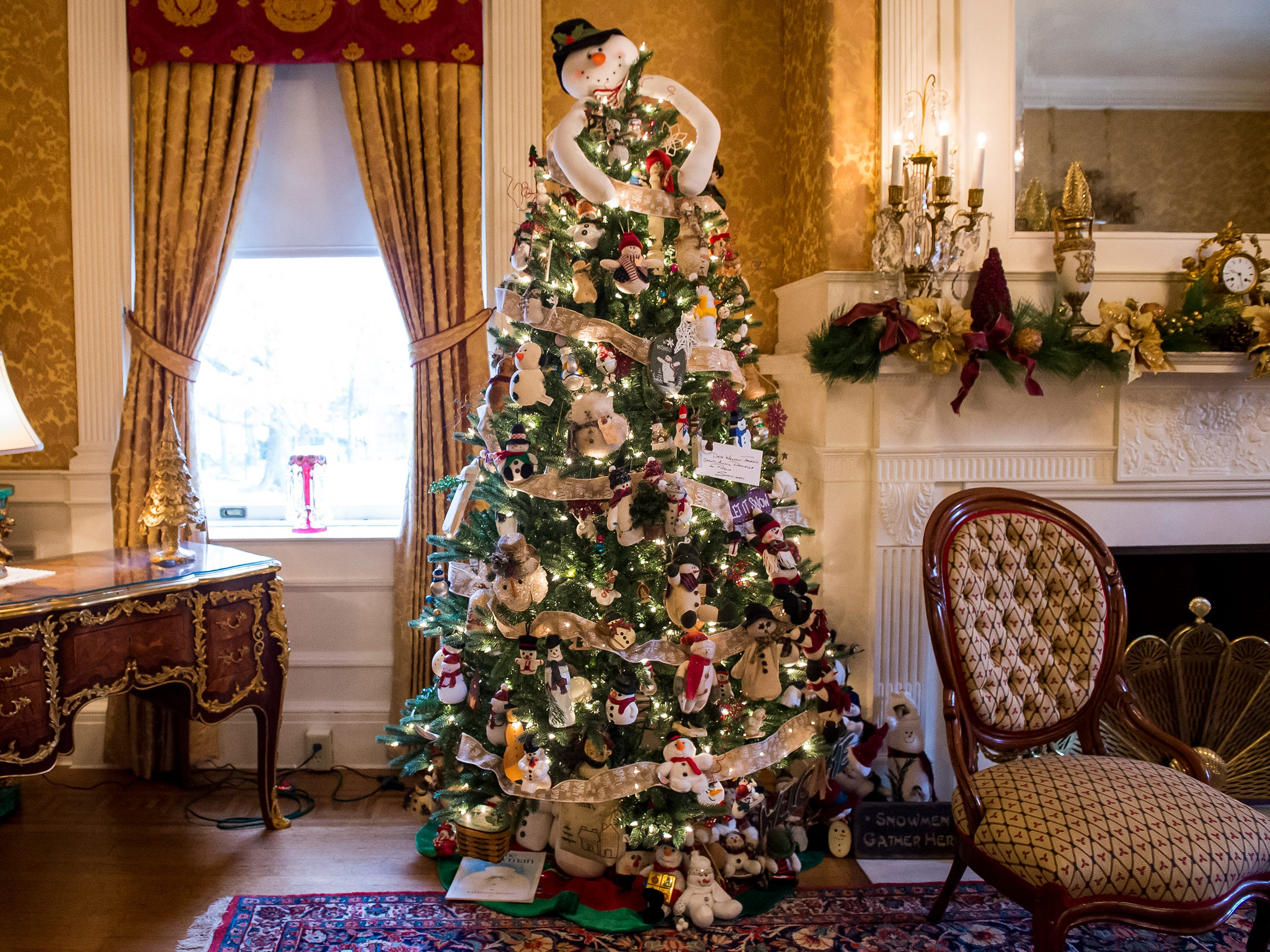 A tree decorated with snow people is one of over 40 Christmas trees on display at the Warehime-Myers Mansion in Hanover. Tree tours are currently being offered and a schedule can be found on the Hanover Area Historical Society's Facebook page.