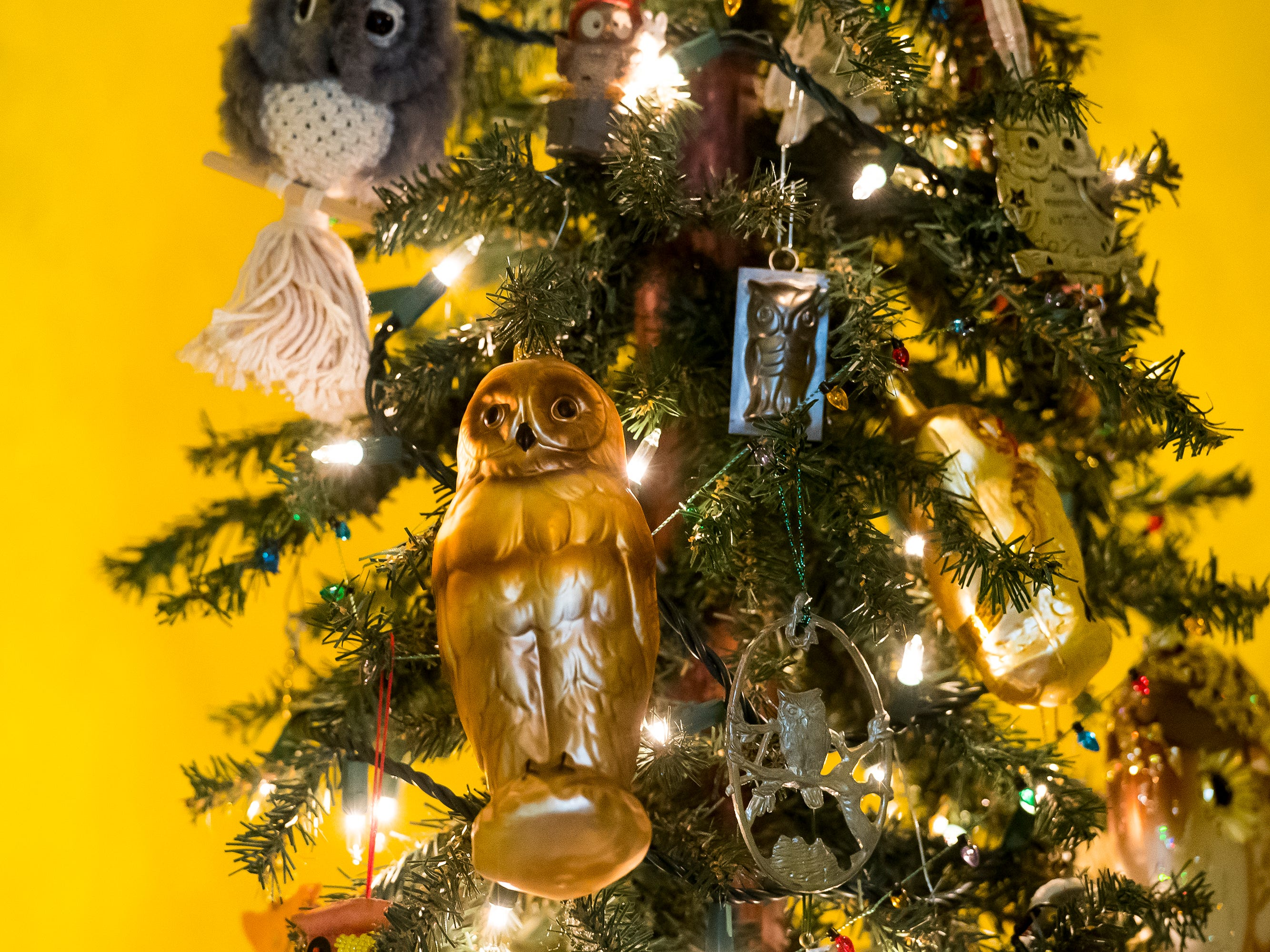 Linda Lohr, Bill Warehime's former secretary, decorated this tree at the Warehime-Myers Mansion in his memory. Warehime, who passed away in 2008, and Lohr shared a love of owls.