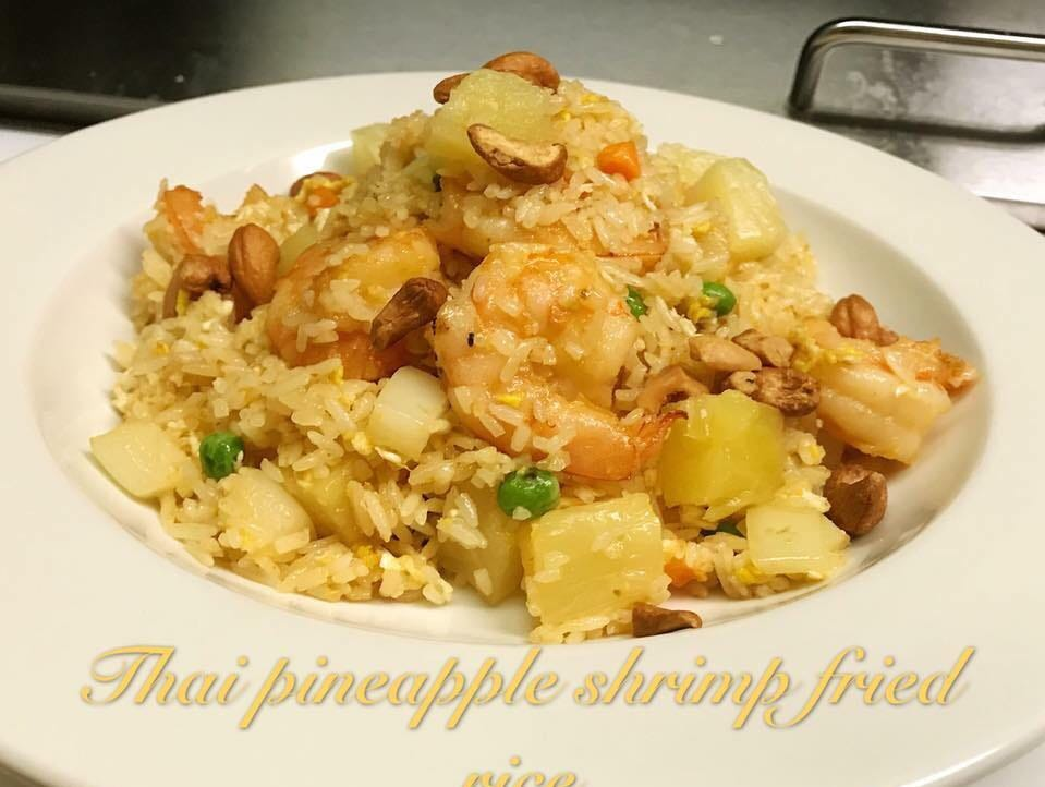 This Thai pineapple shrimp fried rice can be found at Panda Asia Cafe located at 120 East Chestnut St.